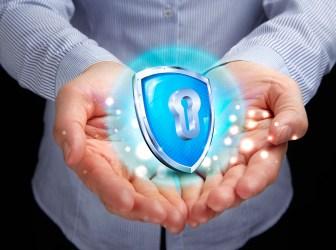 Security logo in man's hands