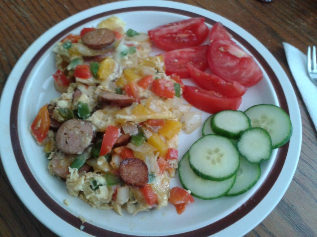 Breakfast sausage veggie fritata with salad