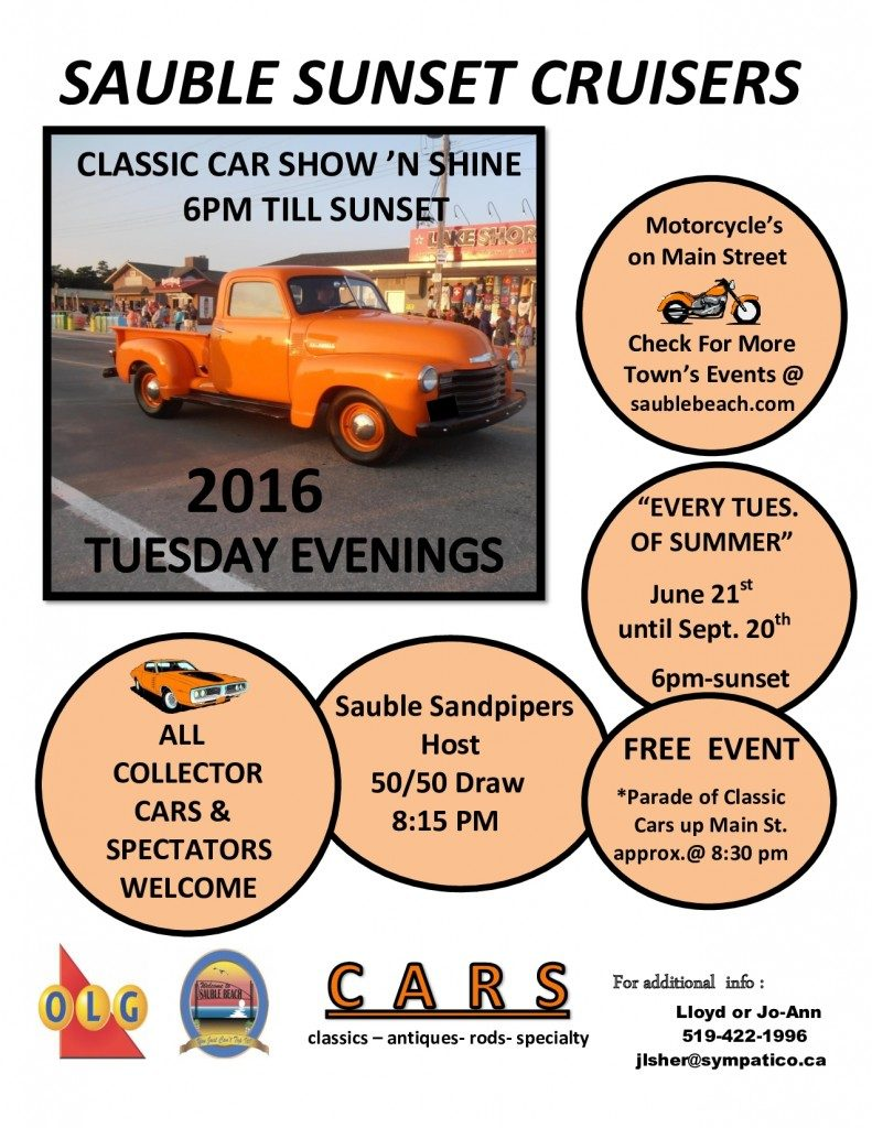 Sauble Sunset Cruisers flyer