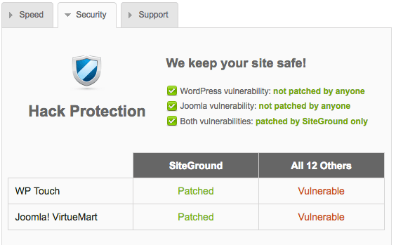 Siteground keeps your website safe