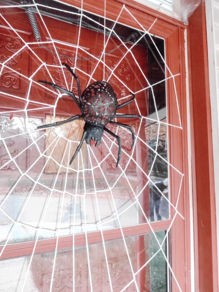 This is an easy step-by-step tutorial on how to make a Halloween spiderweb door #Halloweendecor #spiderwebdoor
