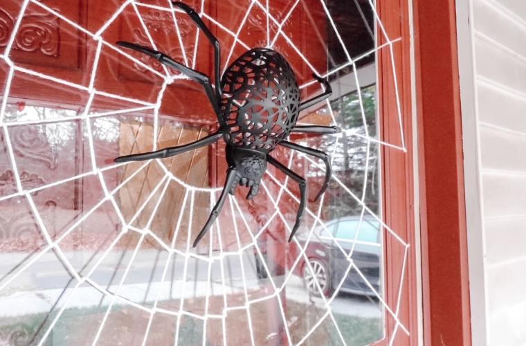 Spooky Halloween spider door decor