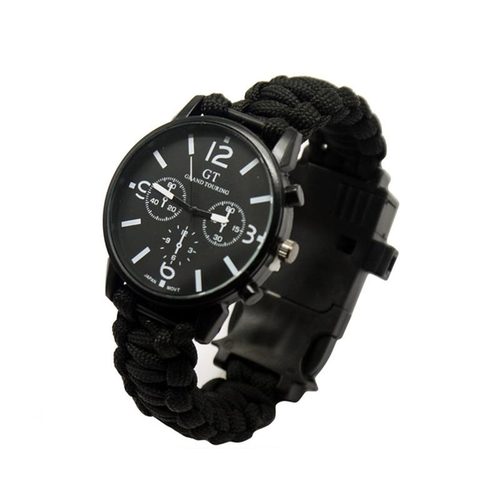 Outdoor Multifunction Camping Survival Watch Tools with LED Light 550Ibs Paracord Compass Whistle Reflector