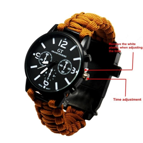 Outdoor Multifunction Camping Survival Watch Tools with LED Light 550Ibs Paracord Compass Whistle Reflector 2c477674 7657 4be0 8a3b c28bc4fc5241