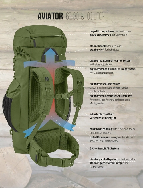 aviator 100 backpack brandit norviner store 115