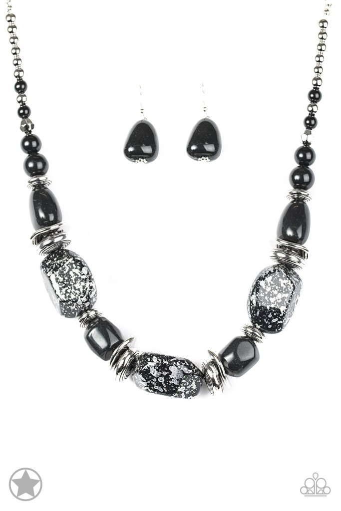 black chunky rock necklace with matching earrings