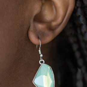 earrings asymmetrical green iridescent stone with silver dotted outline