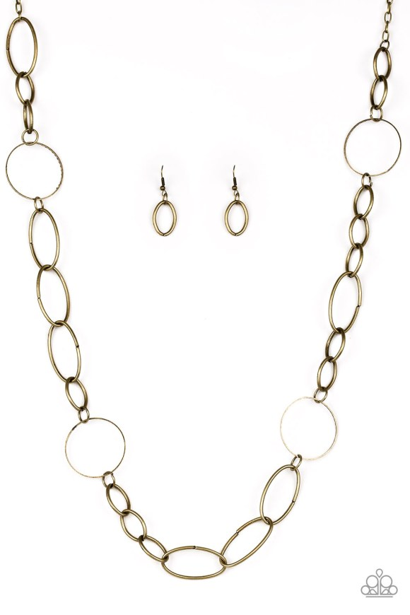 brass mismatched hoop chain necklace with matching copper earrings