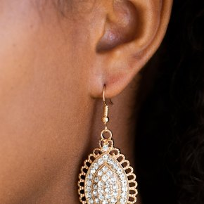 marquise shaped sparkly gold and rhinestone earring