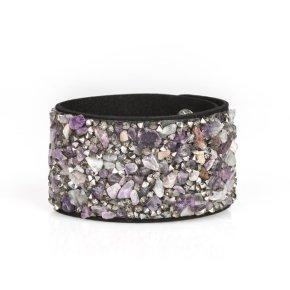 hematite crushed rock wrap bracelet purple on black velvet type material