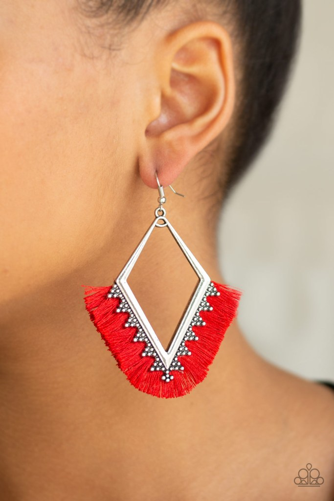 red fringe earrings five dollars A fan of shiny red thread flares out from the bottom of a kite-shaped silver frame radiating with studded details for a flirtatious look. Earring attaches to a standard fishhook fitting. Sold as one pair of earrings.