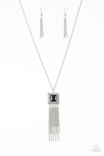 silver long necklace with black square gem