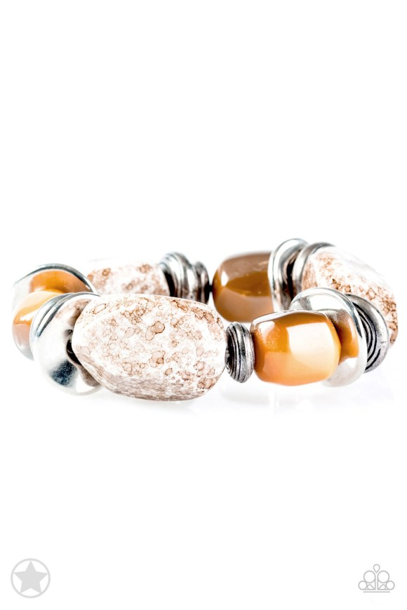 "Chunky peach beads combine with intricate silver details on a stretchy band. Matches Blockbuster Necklace. Sold as one individual bracelet. Get The Complete Look! Necklace: ""In Good Glazes - Peach"" (Sold Separately)"