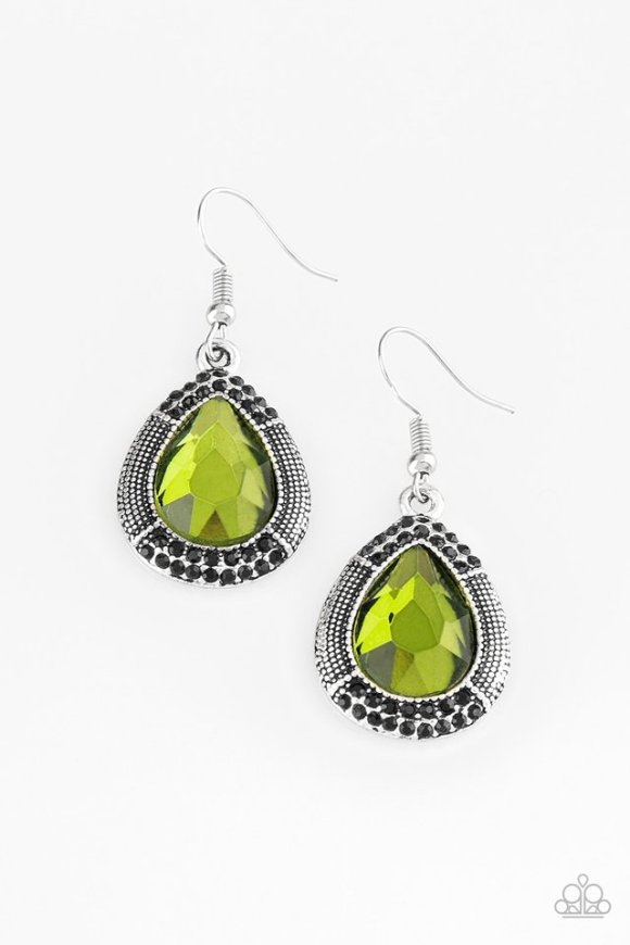 A faceted green teardrop gem is pressed into a shimmery silver frame radiating with studded details and glittery black rhinestones for a magnificent look. Earring attaches to a standard fishhook fitting. Sold as one pair of earrings.