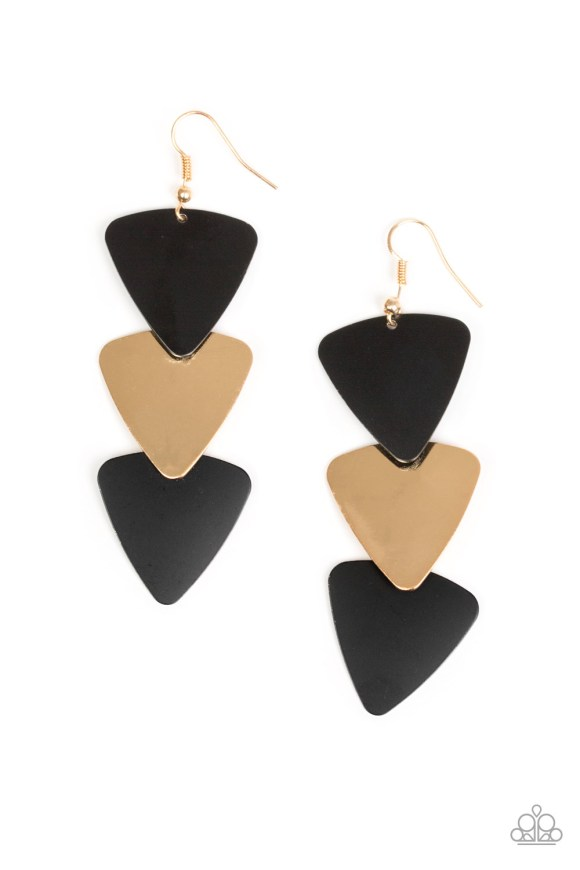 Hot matte black and gold triangular frames, brushed in a high-sheen shimmer, cascade from the ear, creating an edgy lure. Earring attaches to a standard fishhook fitting. Sold as one pair of earrings.