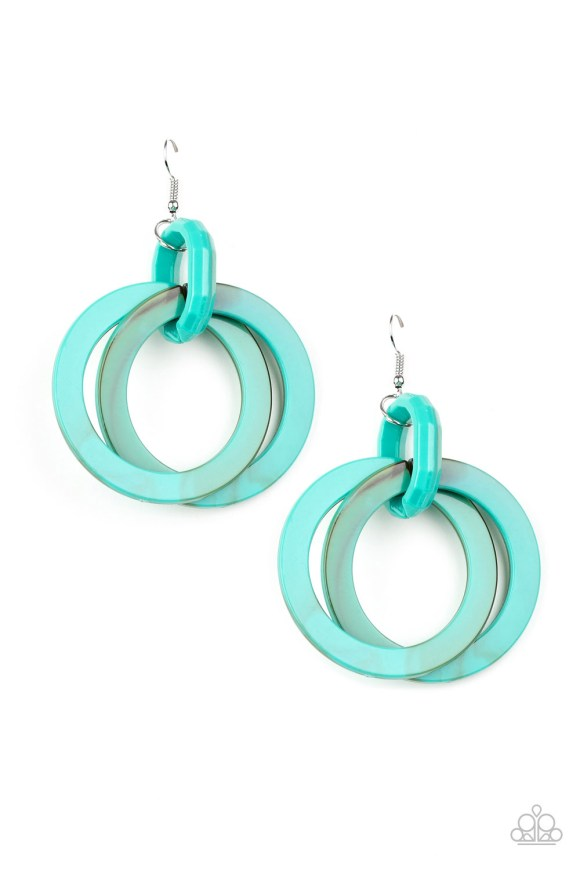 Brushed in a faux marble finish, turquoise colored acrylic hoops dangle from the ear for a retro look. Earring attaches to a standard fishhook fitting. Sold as one pair of earrings.