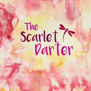 The Scarlet Darter logo features ice-dyed fabric. www.theScarletDarter.com
