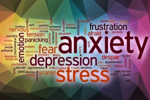 Anxiety word cloud with abstract background