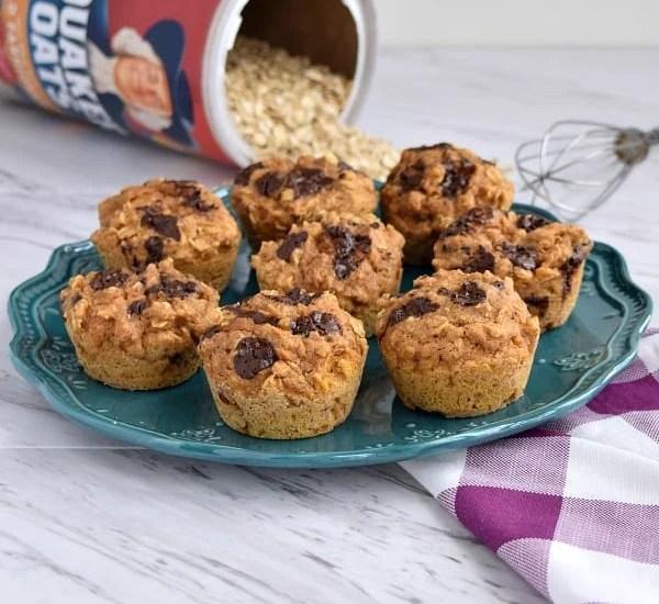 Healthy Sweet Potato Oatmeal Muffins on a blue plate with a purple napkin