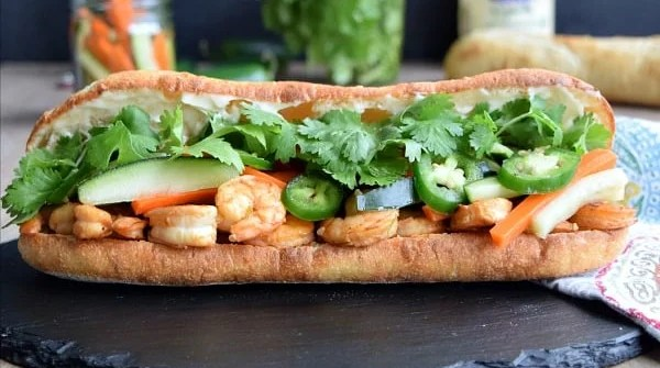 Shrimp Banh Mi with Quick Pickled Vegetables