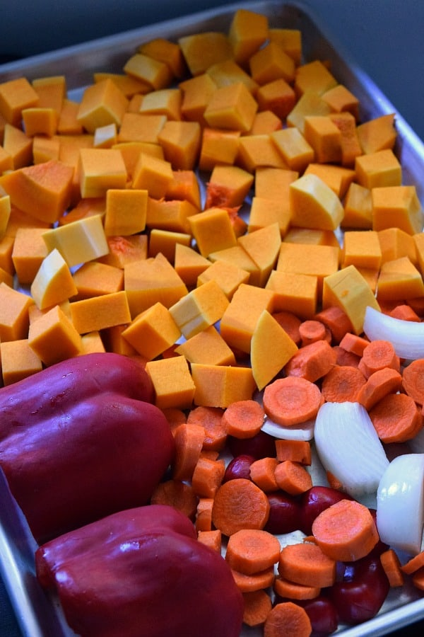 Squash & Carrots on a sheet pan ready for roasting
