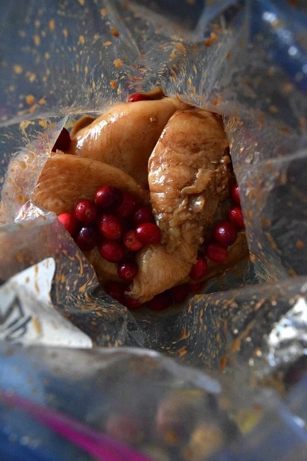 chicken marinading in bag with cranberries