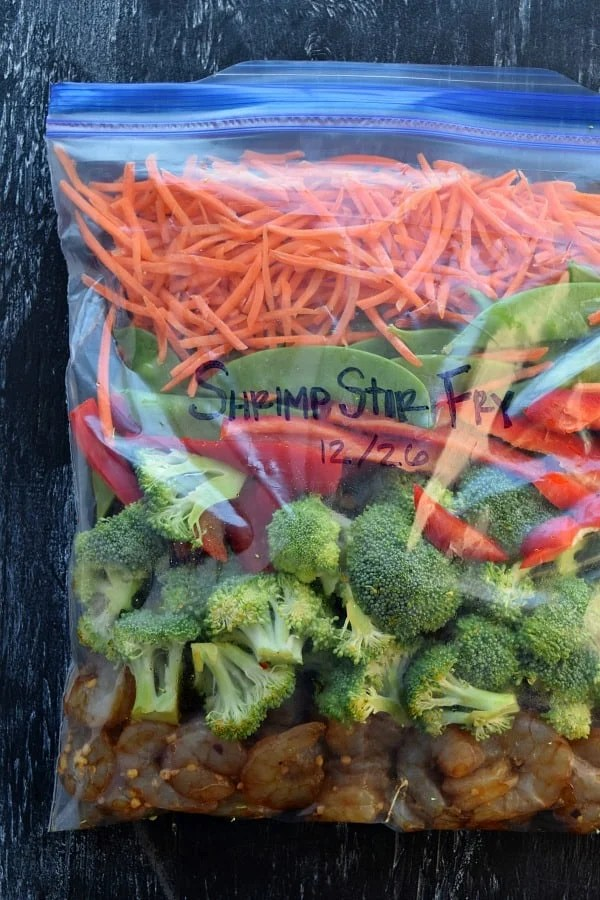 Shrimp Stir Fry Freezer Meal in ziplock bag