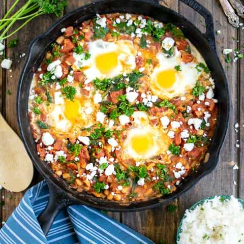 Shakshuka with Spinach and White Beans