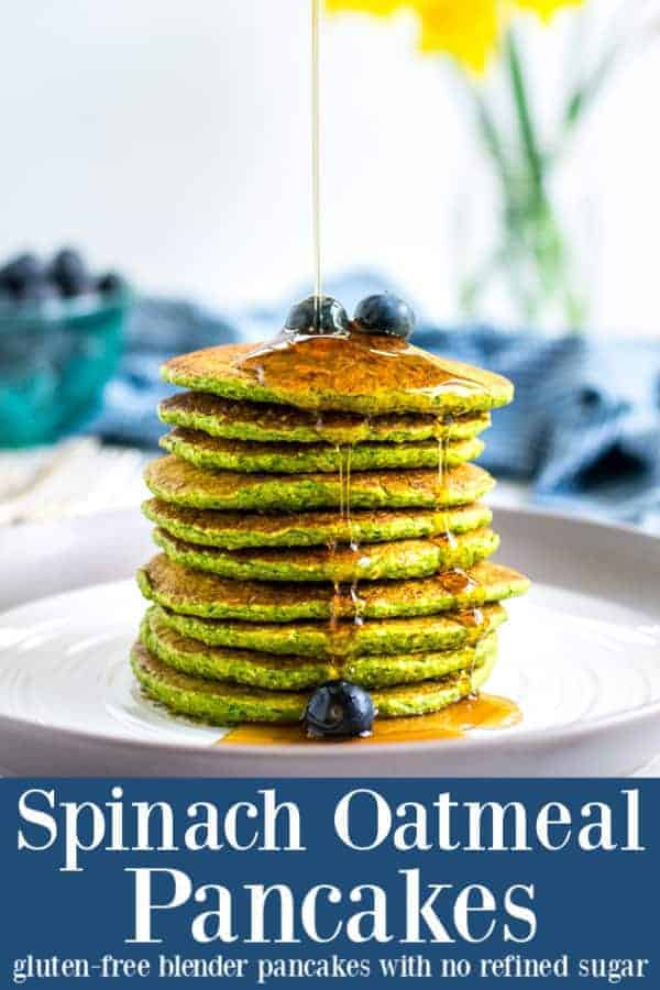 Naturally gluten-free this Healthy Spinach Pancakes recipe is made easy in the blender. Great for toddlers and kids these spinach oatmeal pancakes are the perfect fun breakfast! #forkids #healthy #yogurt #easy #recipe #glutenfree #oatmeal #toddler #blender #sweet #green #spinachpancakes