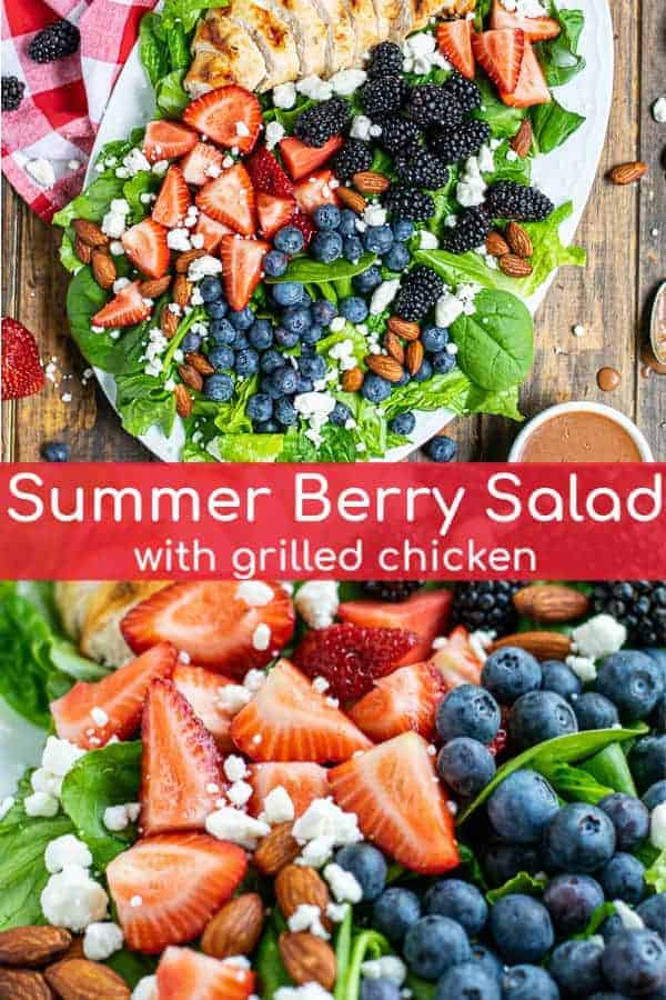 Mixed Berry Salad is a fresh salad bursting with summer fun! Romaine & spinach are topped with grilled chicken, triple berries, and an easy homemade balsamic vinaigrette. You will have this Summer Berry Salad Recipe on repeat all summer long! theschmidtywife.com   #recipe #dressing #summer #spinach #mixed #chicken #healthy #fresh #tripleberry #balsamic #feta #berrysalad