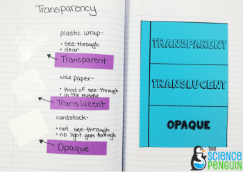 Light vocabulary in science notebook- transparent, translucent, and opaque