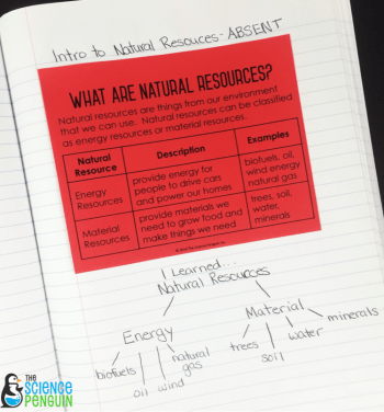 Natural Resources Mini-Charts for interactive science notebooks. Helpful for absent students.