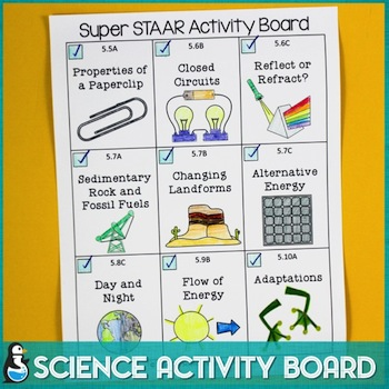 Science Test Prep Menu for 5th grade science STAAR