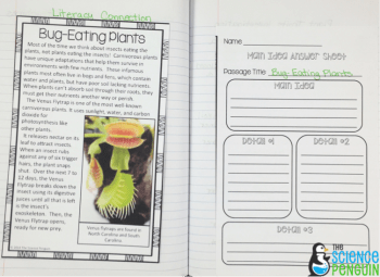 Pics of my science notebook for our plants unit: bug-eating plants main idea and details literacy connection