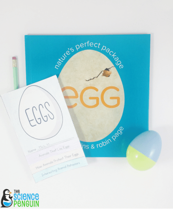 Spring and Easter fun with the book, Egg. This post includes a printable flipbook, discussion questions, and Egg Hunt Research.