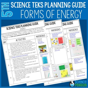 Forms of Energy Planning Guide for 5th Grade TEKS