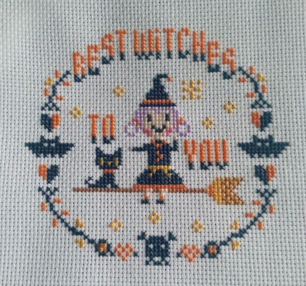"Handmade cross stitch design of a witch to celebrate Halloween. The text reads ""Best Witches To You"""