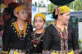 Women from the indigenous Murut tribe wait to meet His Majesty at Taman Haji Sir Muda Omar Ali Saifuddien on Sunday Morning. Photo: Ubaidillah Masli/The Scoop