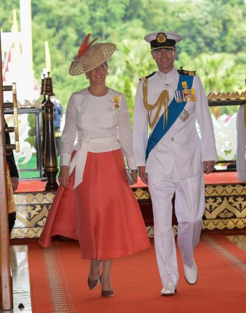 HRH Prince Edward and HRH Princess Sophie, the Earl and Countess of Wessex, attend celebrations for His Majesty's Golden Jubilee at Istana Nurul Iman on Oct 5. Photo: Infofoto