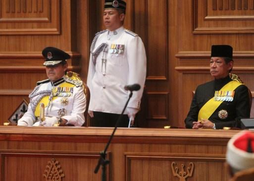 HRH Prince Mohamed Bolkiah (L) and HRH Prince Haji Jefri Bolkiah (R) attend the opening of the Legislative Council 2018. Photo: Infofoto