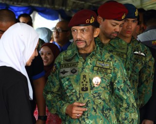 HM the Sultan tours the static exhibition at Penanjong Garrison during the RBAF's 57th anniversary, July 1, 2018. Photo: Saifulizam Zamhor