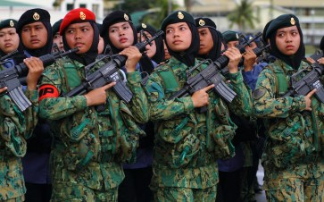 Female military personnel during a parade for the RBAF's 57th anniversary on July 1, 2018. Photo: Saifulizam Zamhor
