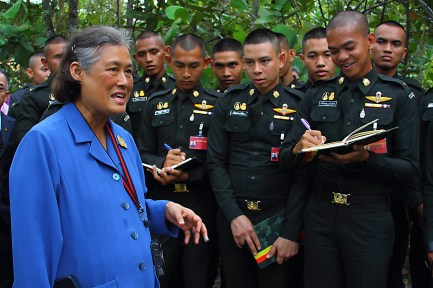 HRH Princess Maha Chakri Sirindhorn tours the UBD Botanical Research Centre with Thai military cadets on October 31, 2018. Photo: Saifulizam Zamhor/The Scoop