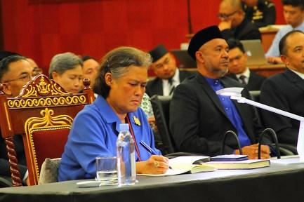 HRH Princess Maha Chakri Sirindhorn takes notes during a lecture at Universiti Brunei Darussalam on October 31, 2018. Photo: Saifulizam Zamhor/The Scoop