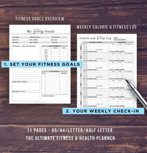 16 Printable Planner and Calendars Ultimate fitness Planner