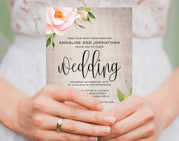 Floral Etsy Wedding Invitation