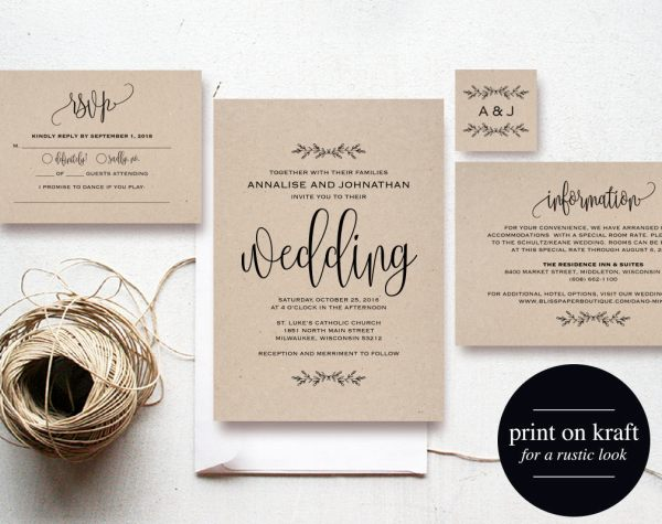 Kraft Etsy Wedding Invitation Set