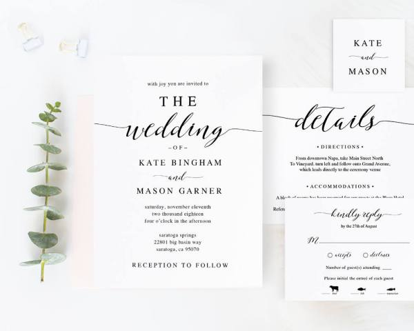 Modern Calligraphy Etsy Wedding Invitation