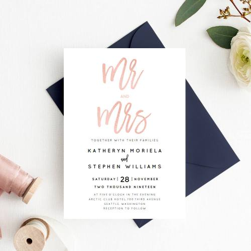 Rose Gold Mr and Mrs Etsy Wedding Invitations