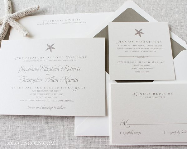 Starfish Etsy Wedding Invitations